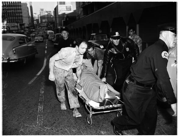 Man hurt at Statler Hotel job, 1952