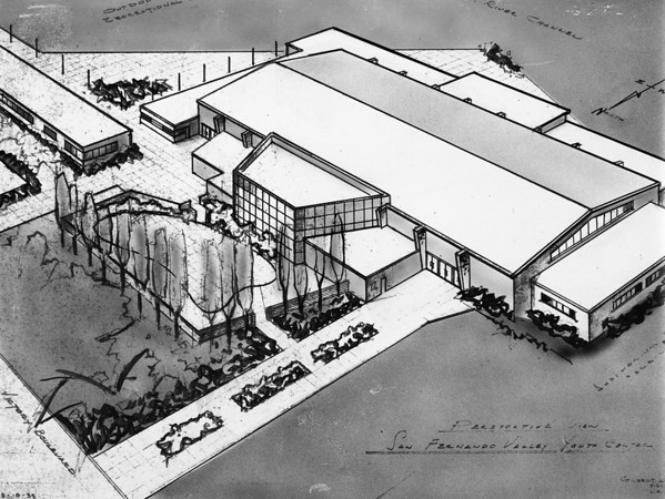 Drawing of proposed San Fernando Valley Youth Center, 1953