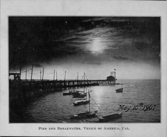 Pier and Breakwater, Venice of America, Cal.
