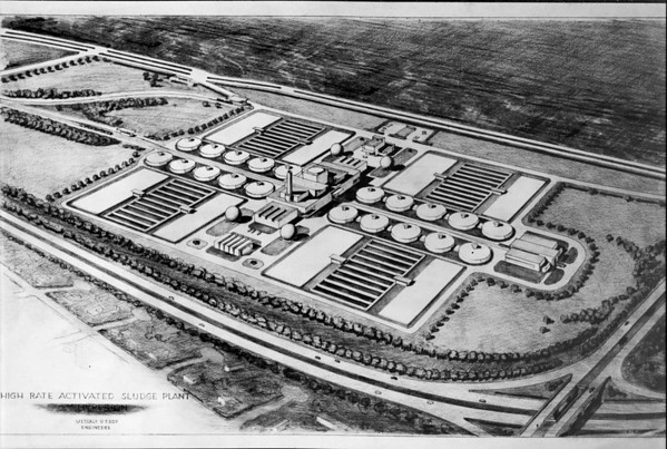 Drawing of high rate activated sludge plant, Hyperion, Los Angeles, 1944
