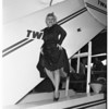 Arrives in Los Angeles enroute to Anchorage, Alaska, 1951