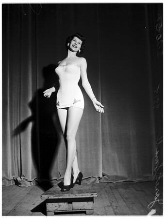 "Official bathing suit to be worn by contestants at Long Beach ""Miss Universe"" beauty pageant, 1952"