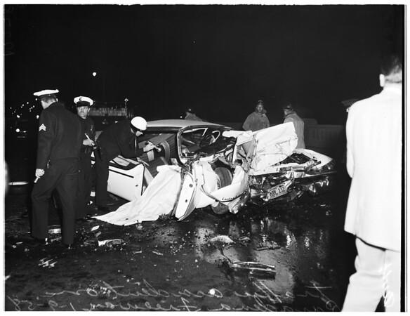 2 dead in traffic accident on Pasadena Freeway (inbound Pasadena Freeway) over San Fernando Road, 1958