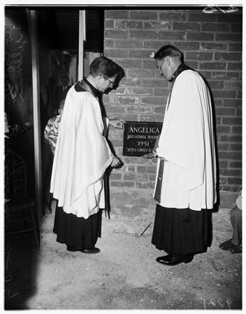 Church cornerstone laying (Angelica), 1951