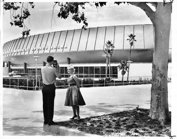Exterior view of the east side of the Los Angeles Memorial Sports Arena, 1961