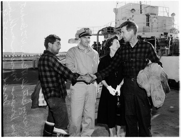 """Rescued fisherman from Anacapa Island after boat """"Mary M"""" went aground, 1958."""