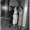 Elevator girls in City Hall with new uniforms, 1957