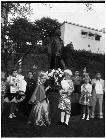 Washington wreath placed by children of American Revolution, 1958