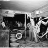 Freak crash... auto drives into bar and wrecks it, 1951