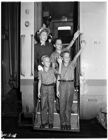 Aboard Streamliner at Union Station, leaving for Sun Valley, 1951
