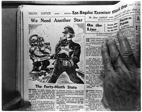 """Copy of Examiner cartoon """"We Need Another Star"""", 1958"""