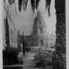 A front of the Pasadena City Hall cropped by a palm tree, ca. 1930