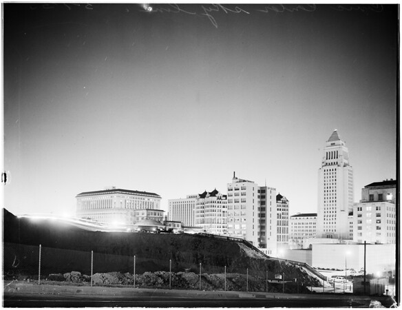 Atomic bomb with Civic Center in foreground, 1955