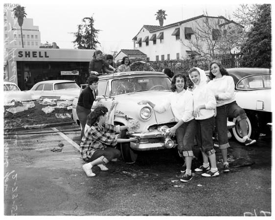 Kids wash cars, 1958