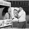 Christmas seal booth at Hollywood Boulevard and Vine Street, 1956