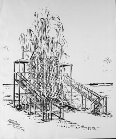 "Artist's conception of the ""Niagara Barrel"" ride for the Venice Pier, ca.1929"