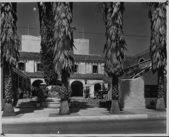 "A front view from the street of the Pasadena Playhouse which is showing ""Broken Dishes"", 1934"