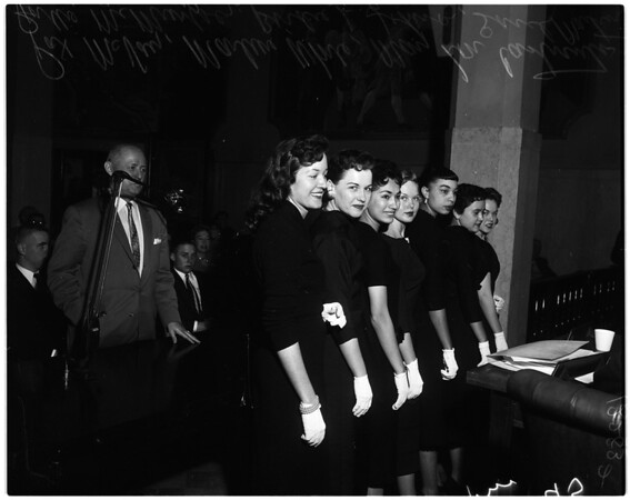 Girl employees in contest for county queen, 1958
