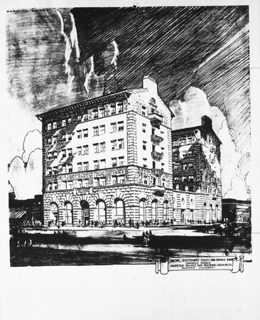 A drawing of the bank and office building for the Oak Knoll branch, Pasadena, 1927