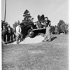 Runaway car in golf course, Pasadena, 1951