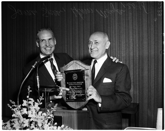 Plaque presented by Western States Advertising Association, 1958