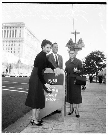 New design for trash cans for city streets, 1958