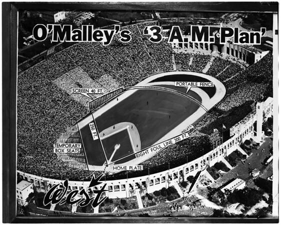 Baseball -- Los Angeles Coliseum -- O'Malley's 3 a.m. plan, 1958