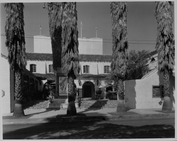 "A front view of the Pasadena Playhouse from the street which is showing ""Judgement Day"", 1935"