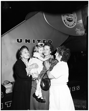Polio Victim arrives via United Airlines (hand out), 1952