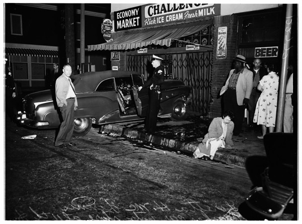 Car into store at 11th and Georgia, 1958