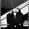 Bishop Fulton J. Sheen arrives via Trans World Airlines from New York, 1952