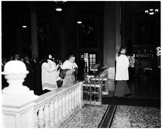 Saint Patrick Day at Saint Vibiana Cathedral, 1958.