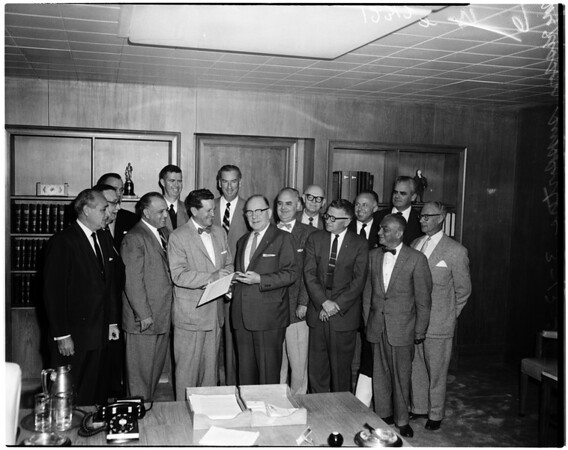 Mckesson supporters (sign his petition for election to office of District Attorney), 1958