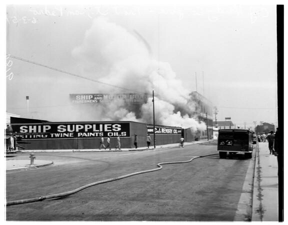 C.J. Hendry Company fire -- San Pedro -- (Front Street), 1951