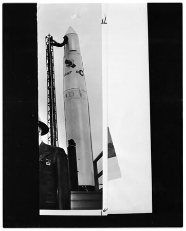 "Copy negative of ""Thor"" missile, 1957"