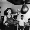 Rudy Jordan of the All Nations Boys Club practices on the speed bag, 1947