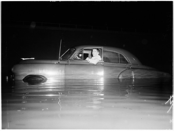 High water -- under South Pacific overpass on Lankershim Boulevard near Sherman Way, 1958
