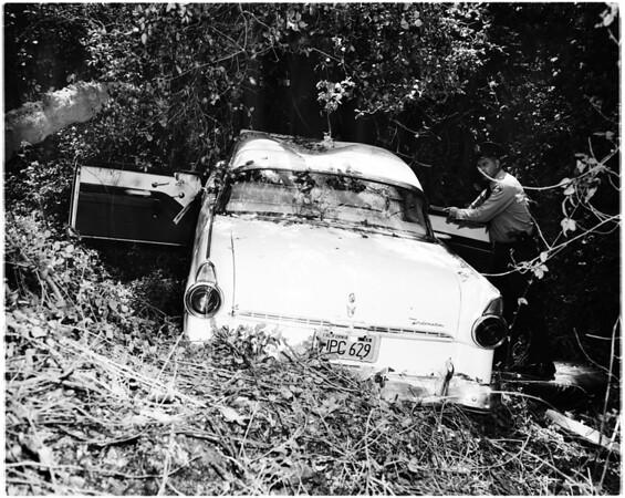 Kids steal car -- wreck same, 1958
