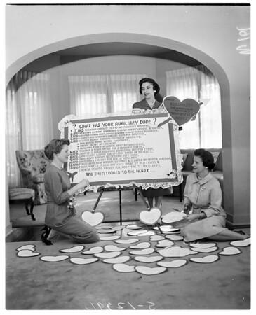 Good samaritan auxiliary woman planning valentine party, 1958