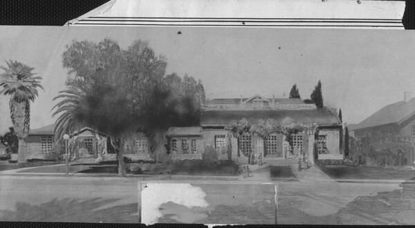 A drawing of the Shakespeare Club, Pasadena, 1923