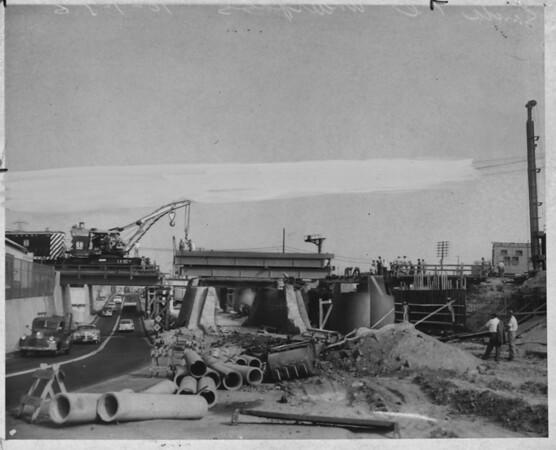 Viaduct construction over E. Washington Blvd., Los Angeles, 1956