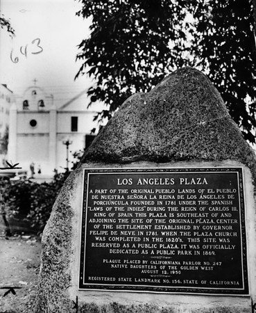 View of landmark plaque in the Los Angeles Plaza, 1961
