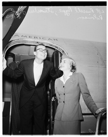 Russell Nype arrival at airport, 1951
