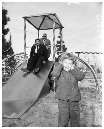 Playground equipment donated by Rotary club of Panorama City, 1958