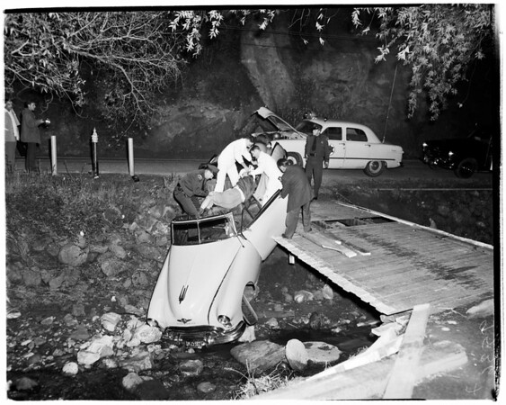 Attempted suicide in auto (Old Topanga Road), 1952