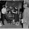 Gilmore Brown, the founder of the Pasadena Playhouse, rehearsing with three actors, 1959