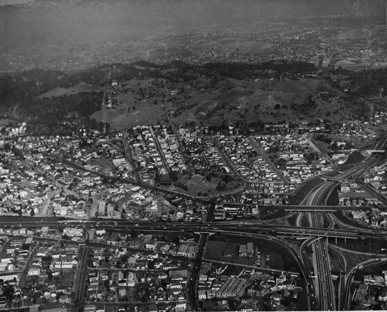 Aerial shot of Chavez Ravine and surrounding area, 1959