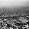 Aerial view of controversial parking lots at Los Angeles Memorial Coliseum, 1957
