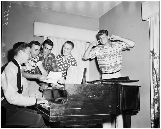 Beta Theta Pi rehearse musical number for Bruin's spring sing in Hollywood Bowl, 1952