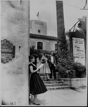 Roma Satterfield and William Francis on Pasadena Playhouse stairs, 1959